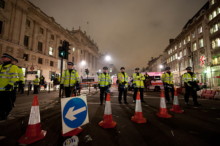 Police closing down Parliament St during student protest in London, 24 November 2010